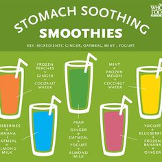 Check out these stomach-soothing smoothies! Keep them in mind for morning sickness.GRACE, I know it is early to think about morning sickness (since you can't even date:), but what caught my eye was 'stomach soothing' b/c you often have an upset tummy. Juice Smoothie, Smoothie Drinks, Healthy Smoothies, Healthy Drinks, Get Healthy, Fruit Smoothies, Healthy Recipes, Smoothie Chart, Smoothie Machine