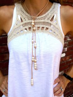 Fresh water pearl and leather lariat boho by tulip3jewelry on Etsy