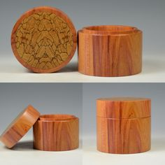 Damson fruit wood box with spalted beech book matched inlay