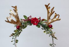 Antler Crown in Red and Gold - Christmas Halo- Wedding - Newborn Photo Prop - Wedding Crown - Floral Hairpiece