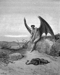 Lucifer, The Fallen Angel - Gustave Dore Artwork Print by Famouspaintings - SMALL Gustave Dore, Gravure Illustration, Satanic Art, Occult Art, Angels And Demons, Classical Art, Norman Rockwell, Wood Engraving, Religious Art