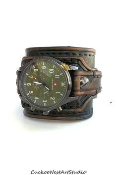 Men's watch, Leather Cuff Watch, Wrist Watch, Leather, Leather Cuff, Bracelet Watch, Army Green