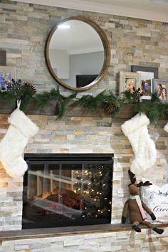 Stacked stone fireplace with wood hearth and mantel Simple Fireplace, Fireplace Hearth, Home Fireplace, Fireplace Remodel, Fireplace Surrounds, Fireplace Ideas, Ledger Stone Fireplace, Stacked Stone Fireplaces, Sweet Home Design