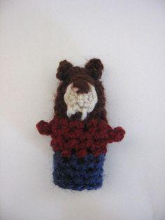 crochet puppet finger  small marionette Beaver  toys 6 cm 24
