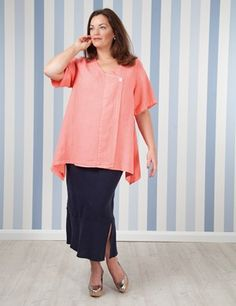 Plus size Tipton Coral Linen Top And Sandford Linen Skirt