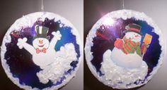Snowman CD craft. Use old CD's, add a Christmas design or cut from scrapbook paper, old Christmas cards, or Christmas wrap. Glue to both sides of the CD. Add Sparkly snow glue to the design, drill a hole and hang.