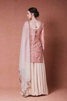 Featuring peach sharara suit with an embroidered kurta in chanderi base. Front, back, and sleeves of the kurta are embroidered with traditional Indian embroider Indian Gowns Dresses, Indian Fashion Dresses, Dress Indian Style, Pakistani Dresses, Indian Outfits, Indian Wear, Sharara Designs, Designer Party Wear Dresses, Party Dresses