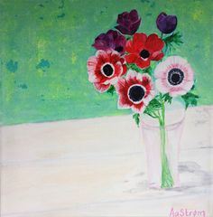 Min mors anemoner. Akryl på kanvas 30x30 still life. Katrine Aastrøm Christensen.