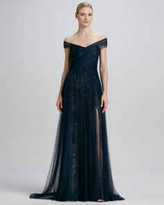 Asymmetric D Tulle Lace Gown By Monique Lhuillier At Bergdorf Goodman
