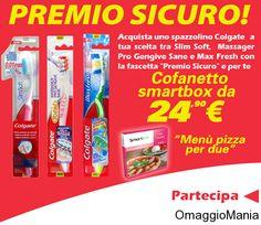 Pizza gratis per due con Colgate.  Si tratta di un premio sicuro con l'acquisto di uno spazzolino.  Link: http://www.omaggiomania.com/omaggi-con-acquisto/pizza-gratis-con-colgate-premio-sicuro/
