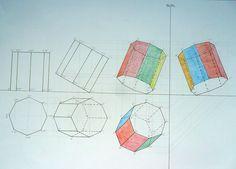 prisma ottagonale inclinato a tre piani