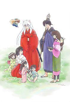 I want to see this adorable family gathering in the sequel! (Fan art by Moca) : inuyasha Miroku, Kagome Higurashi, Kirara, Ariana Grande Outfits, Ladybug Comics, Bungou Stray Dogs, Manga Anime, Anime Art, Fairy Tales