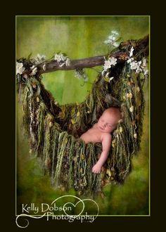 Green Fringe HAMMOCK Photo Prop. Newborn Baby Photography Prop Blanket. 'Verdant' Olive Moss. $95.00, via Etsy.