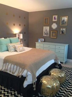 Neutral Bedroom with Mint Green Accents