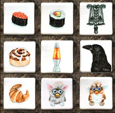 Refrigerator magnets- hand painted on porcelain square. Painted Rocks, Hand Painted, Painted Porcelain, China Painting, Rock Painting, Pop Culture Art, Refrigerator Magnets, Etsy, Painted Stones