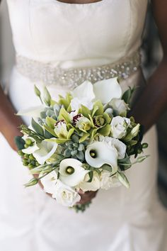 Wedding succulent, orchid and calla lily bouquet