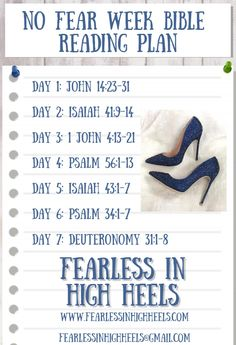 1..2..3..4..5..6..7.. days of silences the voice of fear in your life! When you remove fear from your ear; it will be because you keep Jesus near. Psalm 56, Isaiah 43, John 4 13, Scriptures About Fear, Day Of Silence, Deuteronomy 31, High Heels, Bible, Face