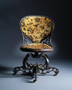 Thomas E. Warren ~ Centripetal Spring Side Velvet Chair. ca. 1849.