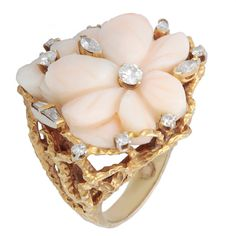 Pre-owned 14k Yellow Gold 4/5ct TDW Coral Rose Nugget Finish Cocktail Ring (I-J, SI1-SI2) - Overstock™ Shopping - Top Rated Estate and Vintage Rings