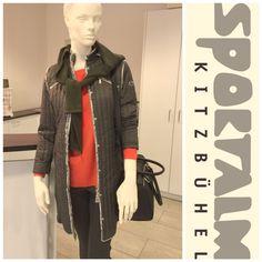 Coole Sportalm Kollektion mit rotem Pullover und schwarzer Jacke