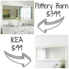 Decor Look Alikes| Pottery Barn Classic Double Wide Mirror retails for $399 vs Hemnes Mirror retails for $99 @IKEAUSA
