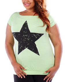 Another great find on #zulily! Mint Star Boatneck Tee - Plus #zulilyfinds
