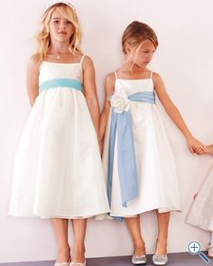 Possible Flower Girl dress with Fuschia sash and Ivory dress and flower.