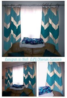 Designer in Teal DIY Chevron Painted Curtain Tutorial!