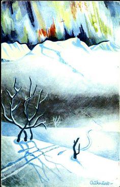 Kunstnerkort Kjell Aukrust  Utg J H. Küenholdt A/S 1941 Skispor. Nordlys Christmas Cards, Christmas Postcards, Norway, Manga, Abstract, Illustration, Artwork, Painting, Kunst