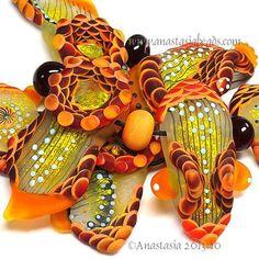 "ANASTASIA--lampwork+beads--(7)--""ODE+TO+THE+FLAME""--SRA"