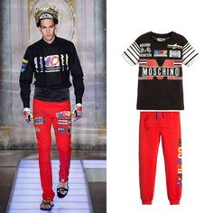 1fcc8d6a40d20c MOSCHINO BOYS MINI ME BLACK RACING TEAM PRINT T-SHIRT Boys Designer  Clothes