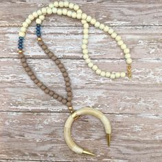 wooden beaded crescent horn necklace