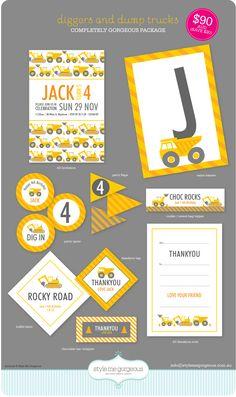 construct parti, birthday parti, printabl parti, truck, birthday invitations