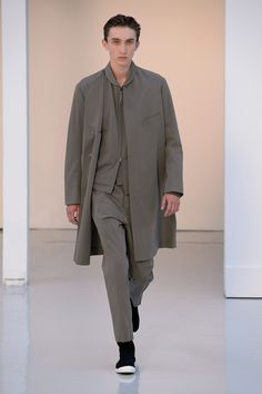 17. Collarless coat zipped blouson and suit pants in cool wool gabardine, high cut sneakers in cotton denim #lemaire