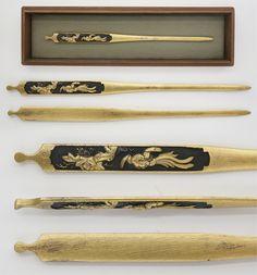 笄:無銘 桐の花と尾長鶏 | 日本刀・刀剣販売の葵美術