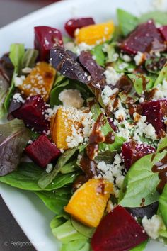 This Orange Beet Feta Spring Salad is a simple and classic salad that balances the sweetness of beets with the tanginess of oranges! Orange Beet Salad Feelgoodfoodie Salad Dishes This Orange Beet Beet Salad Recipes, Veggie Recipes, Vegetarian Recipes, Cooking Recipes, Healthy Recipes, Recipes Dinner, Spring Salad, Summer Salads, Classic Salad