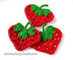 Crochet Heart Strawberry Appliqué
