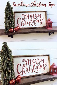 I love farmhouse style rustic signs, and this one is perfect for Christmas! Simple and festive! Merry Christmas Sign Rustic Christmas Sign Merry Christmas Wood Sign #affiliate