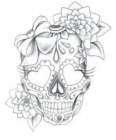 PapiRouge - tattoo drawings - diy tattoo images - tattoo images drawings - tattoo images women - tattoo images vintage - tattoo images ideas - tattoo images men - tattoo i Mexican Skull Tattoos, Sugar Skull Tattoos, Mexican Skulls, Sugar Tattoo, Sugar Skull Drawings, Girly Skull Tattoos, Tattoo Girls, Girl Tattoos, Tatoos