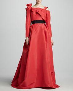 Carolina Herrera Long-Sleeve Off-the-Shoulder Gown