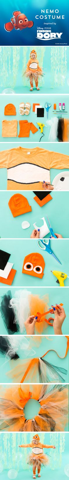 This DIY Nemo Halloween costume will melt your heart! The whole family can even join in as Dory and Hank with more Finding Dory themed DIY costumes. Costume Halloween, Halloween 2017, Halloween Themes, Halloween Crafts, Halloween Decorations, Halloween Party, Disney Costumes, Running Costumes, Carnival