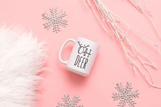 Oh Deer Christmas Mug, Funny Christmas Mug, Christmas Mug by SweetSipsShop on Etsy Christmas Deer, Funny Christmas, Menu Printing, Looking Forward To Seeing You, Oh Deer, New Day, No Response, Messages, Prints