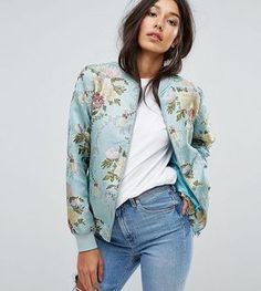 Missguided Tall Floral Brocade Bomber Jacket - Green