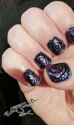 Spiral galaxy nails this week © photo and nail art by Sasha James.Dion #galaxynails #spiral