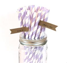 Purple Paper Straws, Striped Paper Straws, 50 Lavender Straws, Wedding Table Setting, Baby Shower Decorations, Birthday Party, Made in USA on Etsy, $8.00
