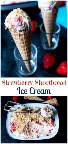 No-churn, strawberry shortbread ice cream - decadently creamy and delicious!