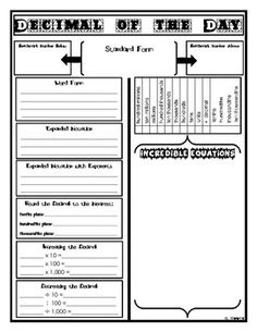 Decimal or Number of the Day Template; free tpt