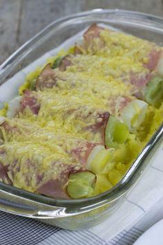 Snelle ovenschotel met preirolletjes Erg lekker, er mag nog wel wat meer mosterd in.
