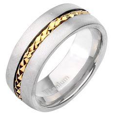 8mm Titanium & Gold Center Two Tone Wedding Ring - Titanium Rings at Elma UK Jewellery