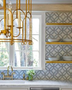 tile + open shelving // kitchen